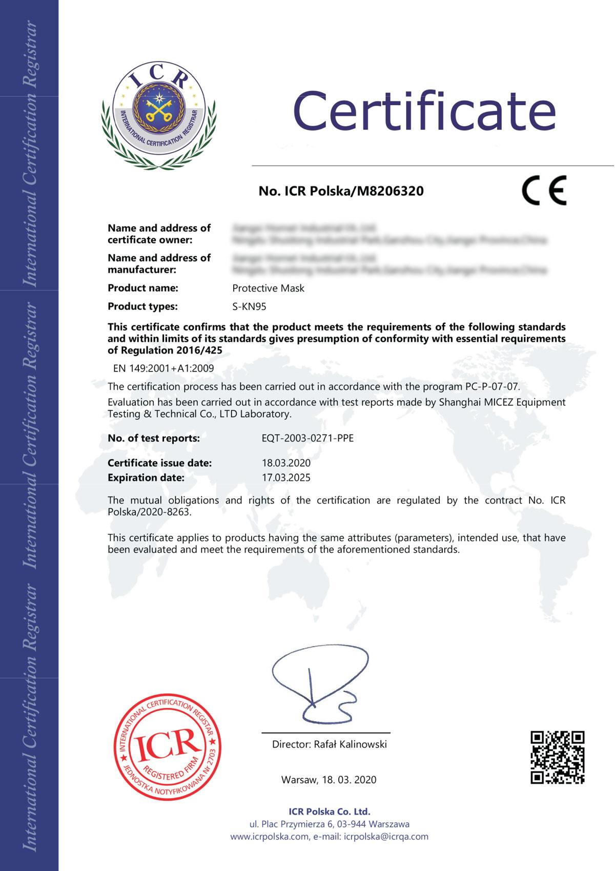 Certificat Masca Coronavirus S-KN95 / N95 / FFP2