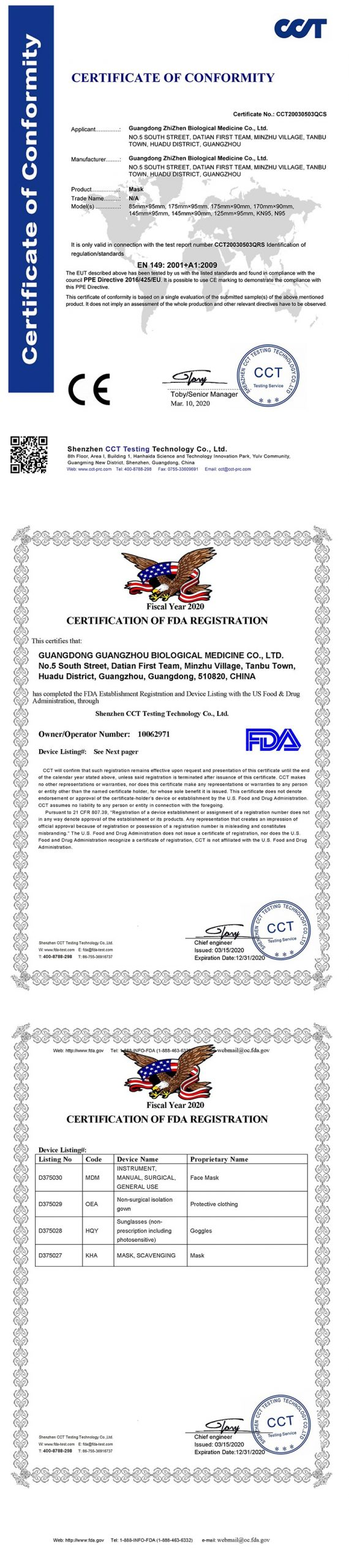 Certificat masca KN95