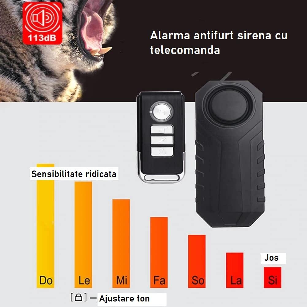 Alarma antifurt sirena vibratii cu telecomanda trotineta electrica sau bicicleta (1)
