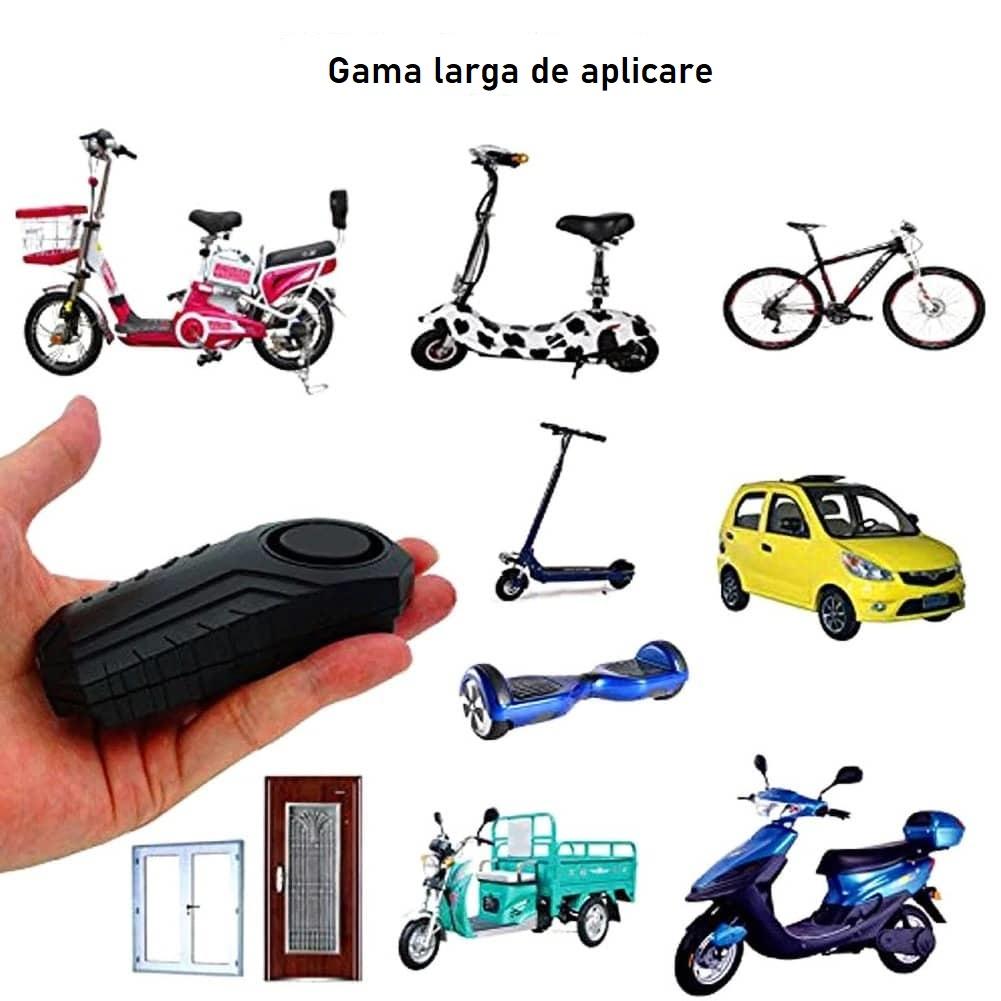 Alarma antifurt sirena vibratii cu telecomanda trotineta electrica sau bicicleta (2)